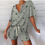 Casual Loose Print Slit Neck & Strapped Shorts