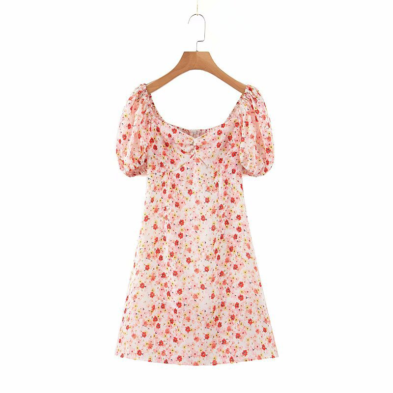 Attractive Neck Tie Front Frill Trim Ditsy Floral Dress