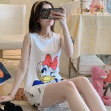 Cute Cartoon Print Top & Wide Leg Shorts Pajama