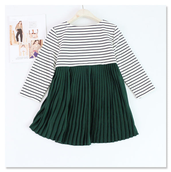 Striped Round Neck Back pleated High-Low Blouse