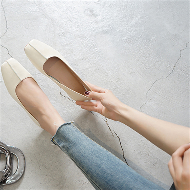 Shallow Mouth Flat Low Heel Shoes