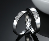 Heart-shaped Ring Men and Women Open Couples Ring