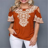 Decorative Print Hollow Out Womens Blouse
