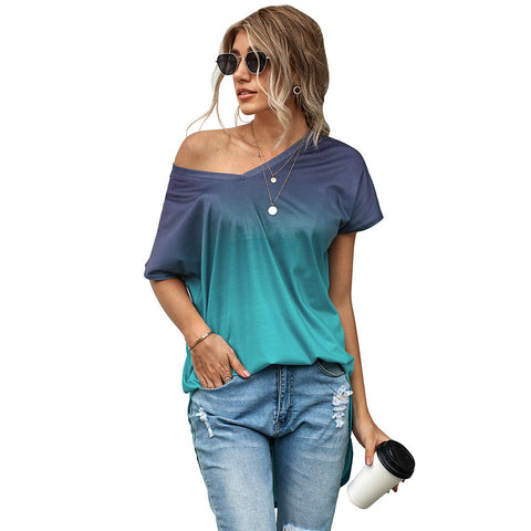 Ombre Short Sleeved V-Neck Summer T-Shirt