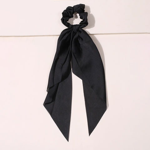2pcs Solid & Floral Satin Scrunchies Scarf