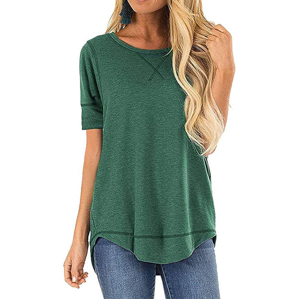 Casual Solid High - Low Hem Womens T- Shirt