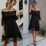 Long Sleeve Lace Ruffle Hem Party Dress