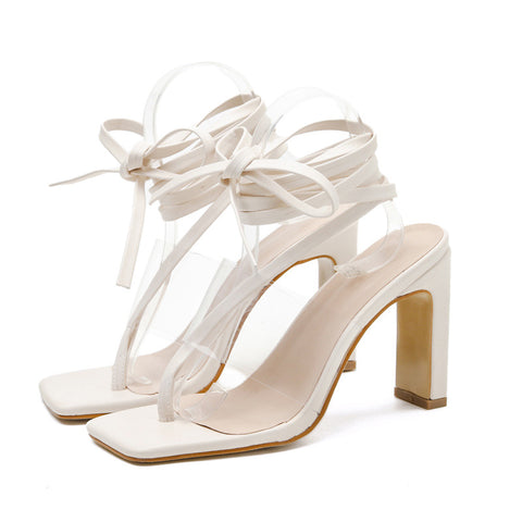 Clear Toe Post Tie Leg Heeled Sandals