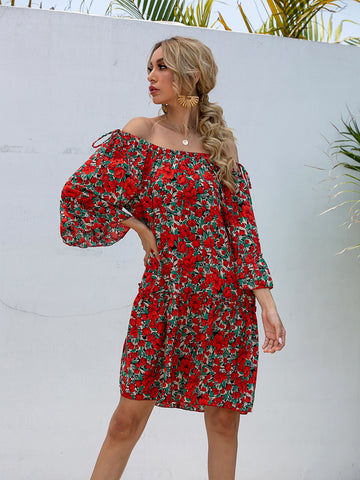 Floral Tied Ruffle Off Shoulder Summer Dress