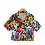 Loose Floral And Figure Graphic womens Blouse