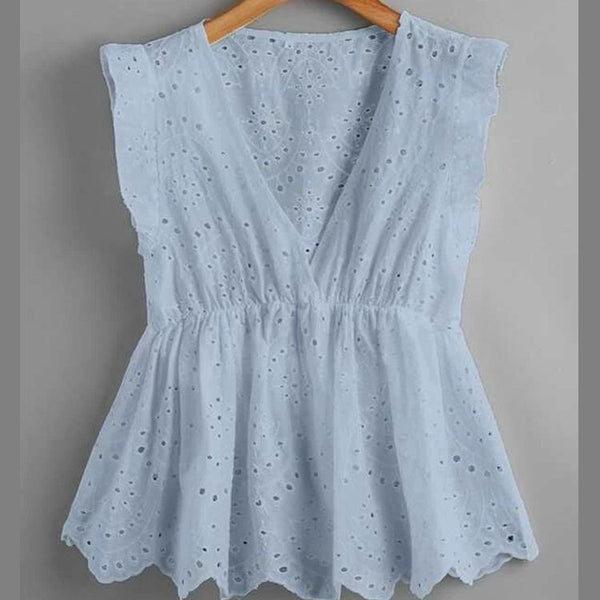 Cute Eyelet Embroidery Ruffle Hem Blouse