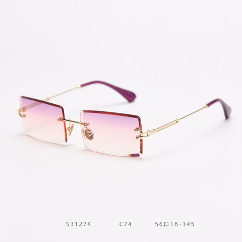 Rimless Square Lens Sunglasses