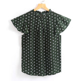 Stand Collar Polka Dots Short Sleeve Tee