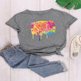 Slogan Graphic print Round Neck womens T-Shirt