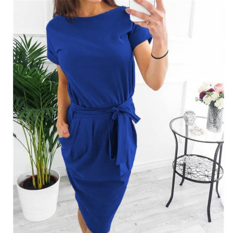 Fashionable Self Tie Boat Neck Short Sleeve Fitted Dress