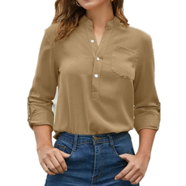 Solid Notched Stand Collar Front Button Blouse