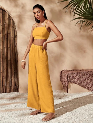 Sleeveless Crop Cami & Loose Wide-Leg Pants Set