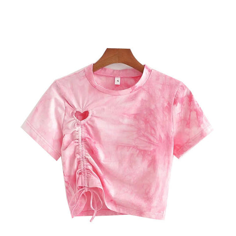 Heart Hollowed Out Ruffled Tie Dye T-shirt