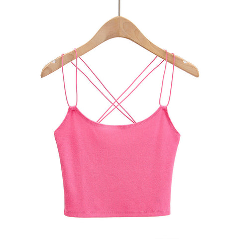 Solid Cropped Criss Cross back Ribbed Womens Cami
