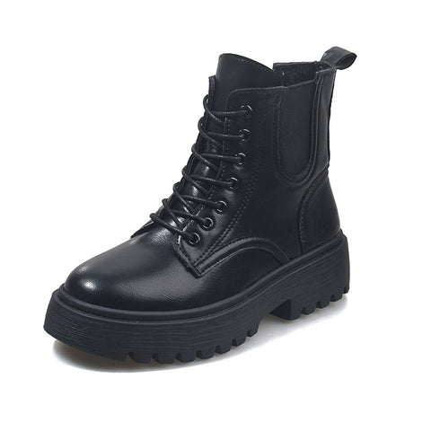 Lace-up Front Side Zip Combat Boots