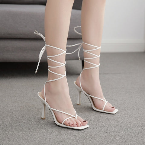 Toe Post Tie Leg Heeled Sandals