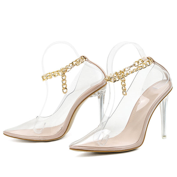 Point Toe Gold Chain Decor Clear Stiletto Heels