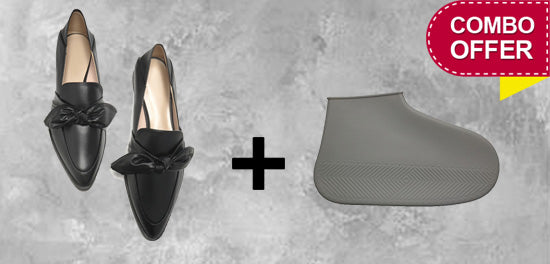 Rainproof Boot Cover + Pointed Flat Shoes ( Black & Gray )