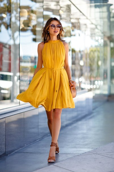 Sleeveless Swing Yellow Dress