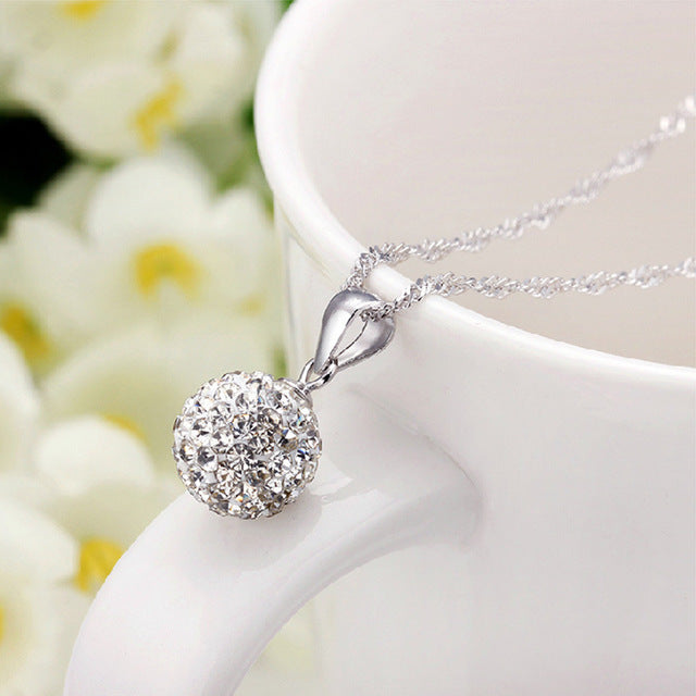 Women's Diamond Ball Sterling Silver Rhinestone Pendant Jewelry