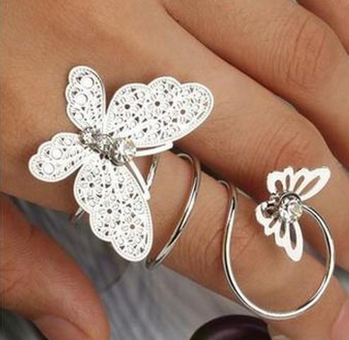 Women's Double Butterfly Rhinestone Ring