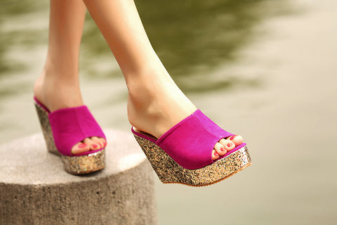 High-heeled Waterproof Sandals Slippers for Summer