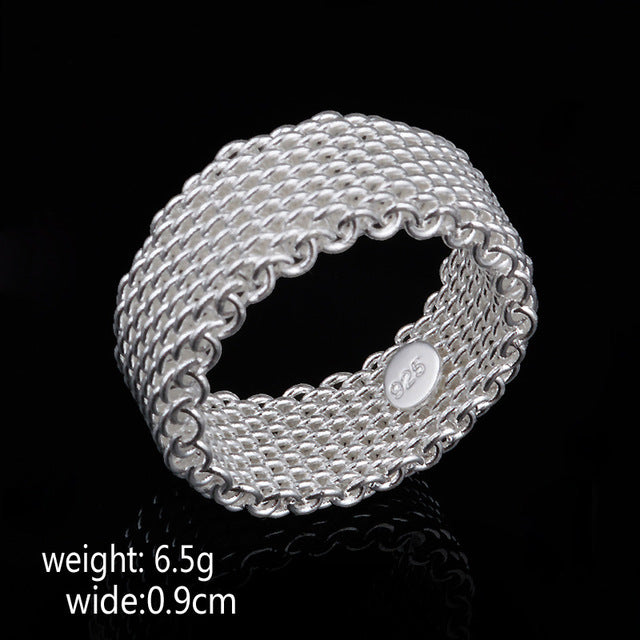 Women's Sterling Silver Ring Mesh Weaving Jewelry