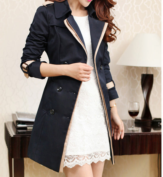 Women's Classic Style Spring / Fall Long Trench Coat Notch Lapel Long Sleeve