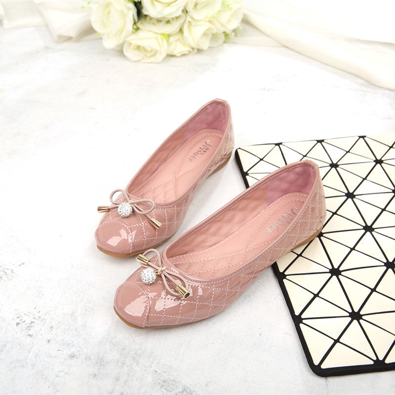 Women's Fashion Rhinestone Metal Bow Flats
