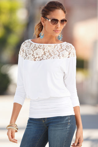 Lace Shoulder Long Sleeve Round Neck Blouse