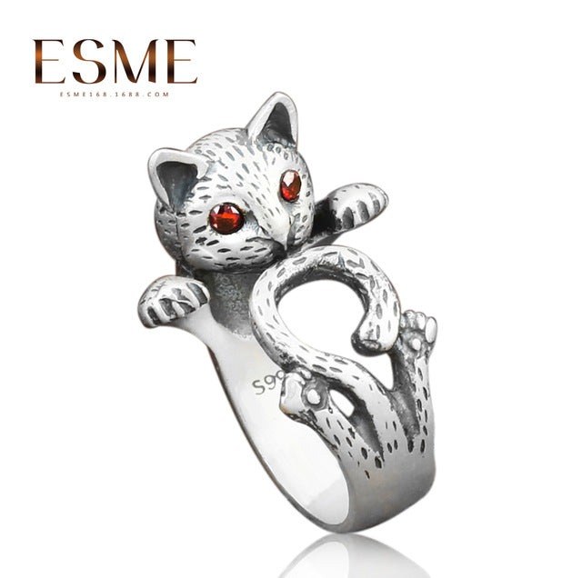 Ethnic Red Eye Fortune Cat Ring Antique Silver Adjustable Ring Jewelry for Women