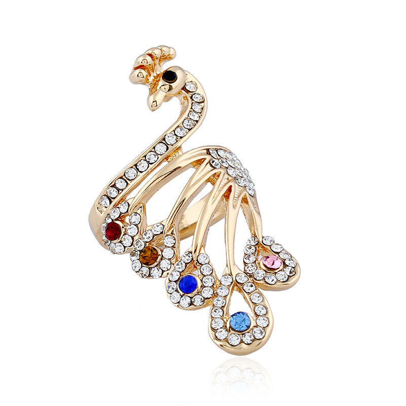 Temperament Diamond Peacock Ring Jewelry