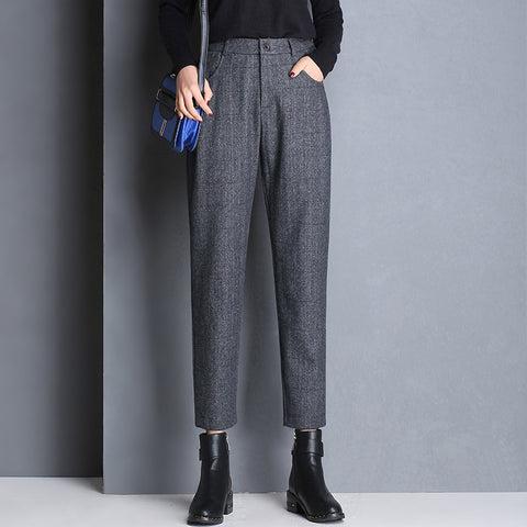 Women's Wool Straight Harem Trousers