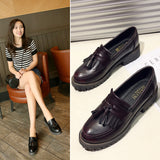 Spring & Autumn Leather Retro Shallow Mouth Large Size Single Shoes
