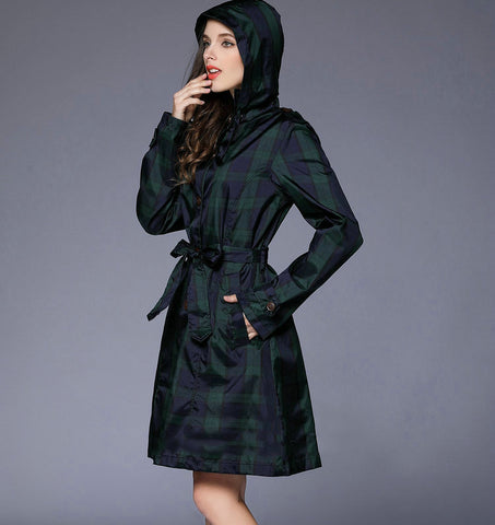 Plaid Fashion Black Raincoat