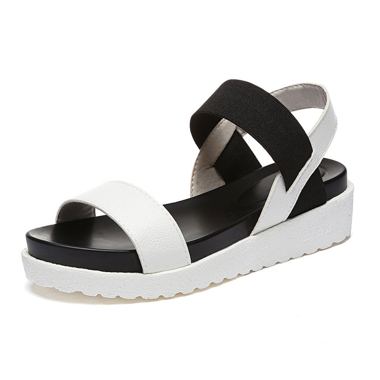 Genuine Leather Round Toe Elastic Buckle Sandals