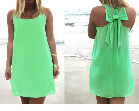 Loose Chiffon Sleeveless Back Tie Bowknot Beach Dress
