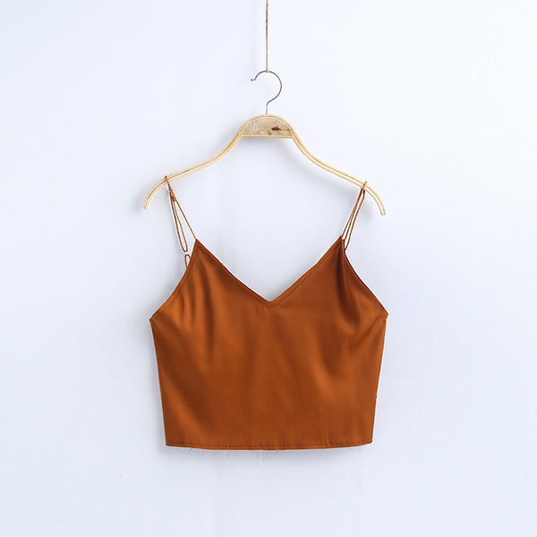 Women's V-neck Short Bottom Vest