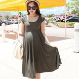 Soft Solid Color Short Sleeve Pregnant Dress