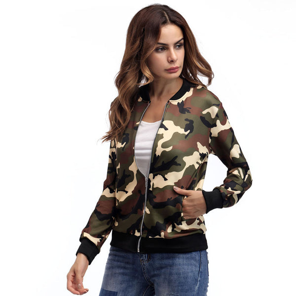 Women's Fashion Zipper Camouflage Jacket
