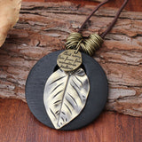 Ethnic Wood Alloy Leaf Pendant Necklaces Vintage Leather Rope Long Sweater Necklace