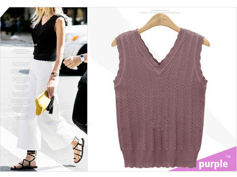 Women's V-neck Halter Knit Vest