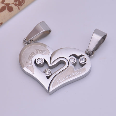 Titanium Steel Diamond Heart Pendant for Couple