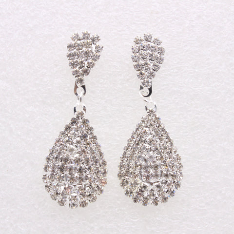 Elegant Bridal Bling Silver Plated Earrings