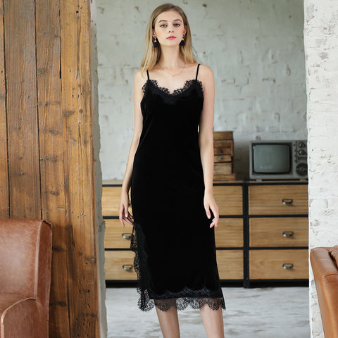 Velvet Pajamas Winter Long Lace Side Sling Split Nightdress